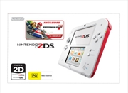 Nintendo 2DS Console White Red with Mario Kart 7