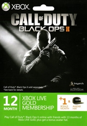 Call of Duty Black Ops 2 Themed Xbox LIVE 12 months + 1 Bonus Month Gold Subscription