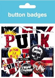 Punk Union Jack Badge 6 Pack