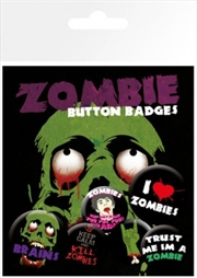 Zombies I Love Badge 6 Pack