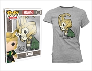Thor - Loki Pop! T-Shirt Womens Grey S | Apparel