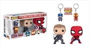 Captain America 3: Civil War - Hawkeye SpiderMan Pop!, Captain America & Iron Man Pocket Pop! Keycha | Pop Vinyl