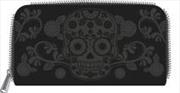 Floral Skull Zip Around Wallet