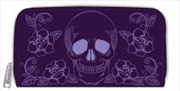 Floral Skull Zip Around Wallet