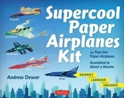 Supercool Paper Airplanes Kit 12 Pop-Out Paper Airplanes; Assembled in About a Minute