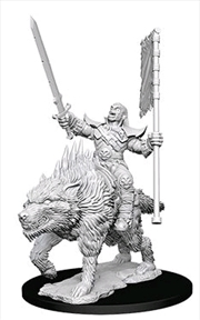 Pathfinder - Deep Cuts Unpainted Orc on Dire Wolf