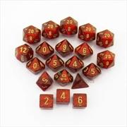 BULK Glitter Bag of 20 Polyhedral Dice - Ruby/Gold | Merchandise