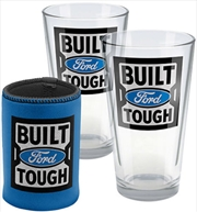 Ford Glasses Set of 2 + Can Cooler - Gift Pack