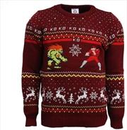 Official Street Fighter Blanka vs Bison Christmas Jumper Ugly Sweater L