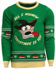 Official Crash Bandicoot Christmas Jumper Ugly Sweater L
