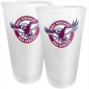 NRL Conical Glasses Set of 2 Manly Warringah Sea Eagles
