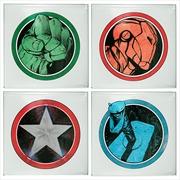 Hulk, Iron Man, Thor & Captain America Designs Glass Coasters Set | Merchandise