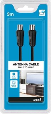 Crest TV Co-Ax Dual Shield Male To Male 3M Black | Accessories