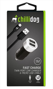 Twin Port Car Charger With Micro USB Cable