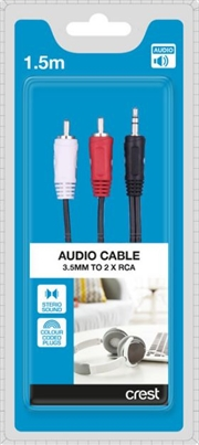 3.5mm to 2 x RCA Audio Cable - 1.5M