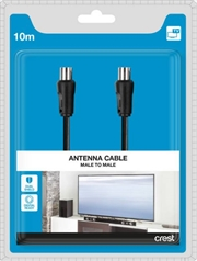 Dual Shield Male to Male TV Antenna Cable - 10M Black | Accessories