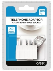 Telephone Double Adaptor RJ12/45 To 605 Wall Socket | Accessories