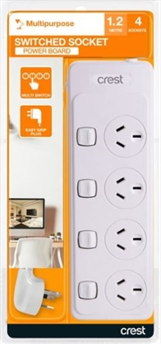 Crest 4 Outlet / 4 Switch Overload Power Board