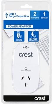 Crest USB Power Adaptor 1 Socket / 2 Ports | Accessories