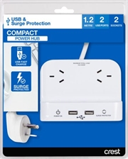 Crest Desktop Compact Power Hub 2 Sockets - 2 Ports 2.4A