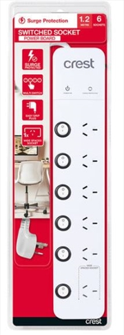Crest Power Board Surge 6 Sockets / 6 Switches - 1.2M