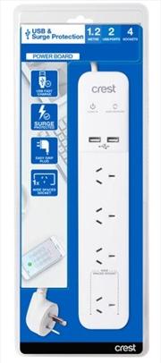 Crest USB Power Board Surge 4 Sockets / 2 Ports - 1.2M | Accessories