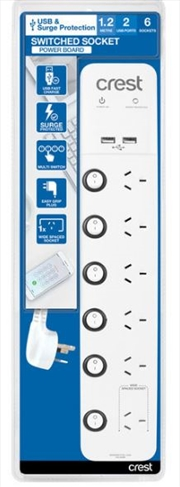Crest USB Power Board Surge 6 Socket / 6 Switch / 2 Ports - 1.2M | Accessories