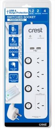 Crest USB Power Board Surge 4 Socket / 4 Switch / 2 Ports - 1.2M