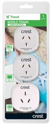 Crest World Travel 3 Pack Adaptors | Accessories