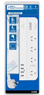 Crest Desktop 4 Outlet / 4 Usb 3.5A Power Board | Accessories