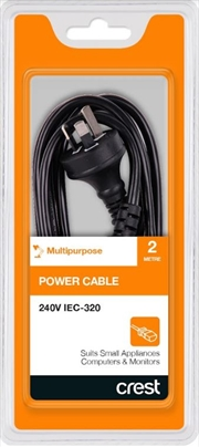 Crest Iec Power Cable 240V For Small Appliances - 2M