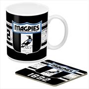 AFL Coffee Mug and Coaster 1st Team Logo Collingwood Magpies