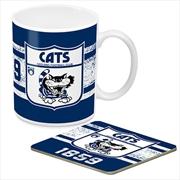 AFL Coffee Mug and Coaster 1st Team Logo Geelong Cats