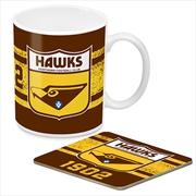 AFL Coffee Mug and Coaster 1st Team Logo Hawthorn Hawks