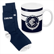 AFL Coffee Mug and Sock Gift Pack Carlton Blues