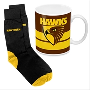 AFL Coffee Mug and Sock Gift Pack Hawthorn Hawks
