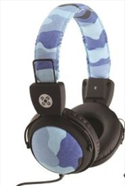 Camo In-line Mic Blue Headphones