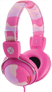 Camo In-line Mic Pink Headphones