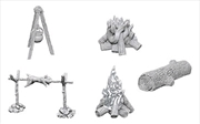 Wizkids - Deep Cuts Unpainted Miniatures: Camp Fire & Sitting Log | Games