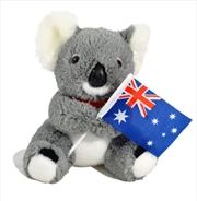16cm Sitting Koala W/Flag