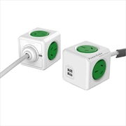 Powercube Extended 3.0m USB Surge - Green