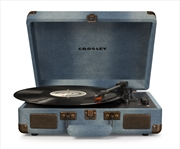 CROSLEY Cruiser Deluxe Portable Turntable - Denim + Free Record Storage Crate