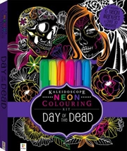 Kaleidoscope Colouring: Neon Day of the Dead Kit | Hardback Book