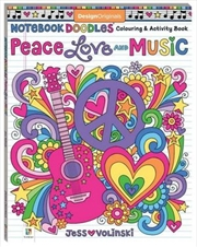 Notebook Doodles Peace, Love and Music Colouring | Colouring Book