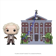 BttF - Doc w/Clock Tower Pop! Town | Pop Vinyl