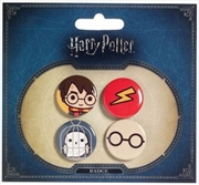 Harry Potter Chibi Button Badge Set 1 (Harry/Hedwig) | Merchandise