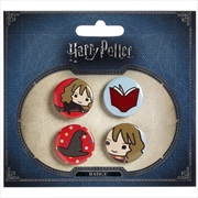 Harry Potter Chibi Button Badge Set 2 (Hermione/Sorting Hat) | Merchandise