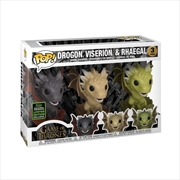 Game of Thrones - Drogon, Viderion & Rhaegal in Eggs ECCC 2020 Exclusive Pop! Vinyl 3-pack [RS] | Pop Vinyl