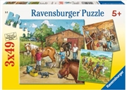 Ravensburger - A Day with Horses Puzzle 3x49 Piece Puzzle | Merchandise