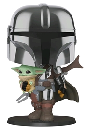 "Star Wars: The Mandalorian - Mandalorian with Child Chrome 10"" Pop! Vinyl 